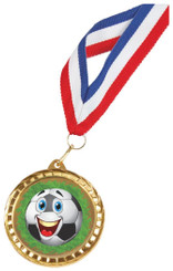 Gold Football Medal on Ribbon with Choice of Image - Gold