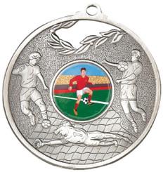 70mm Men's Football Medal - Silver