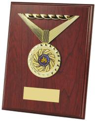 "Wood Plaque Award with Medal Design - TW18-117-454DP - 15cm (6"")"