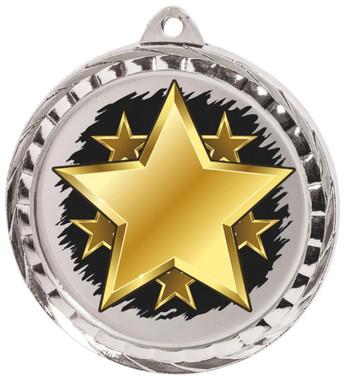 60mm Colour Print Sports Medal - Star - Silver