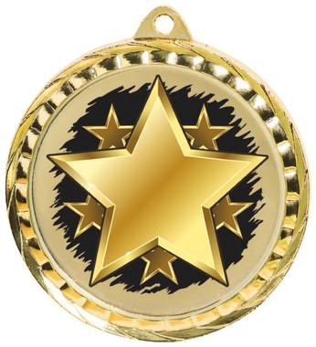 60mm Colour Print Sports Medal - Star - Gold