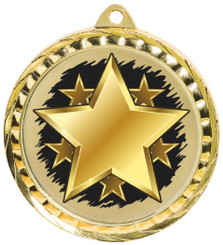 60mm Colour Print Sports Medal - Star - Gold