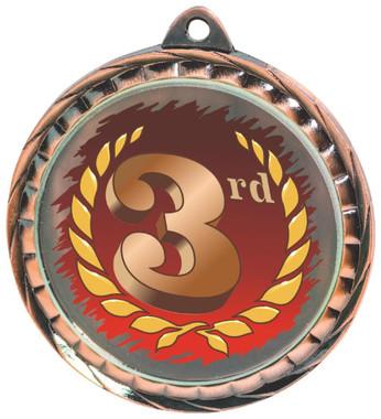 60mm Colour Print Sports Medal - Position - Bronze