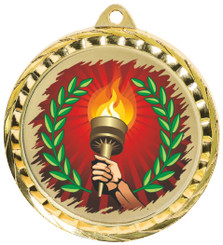 60mm Colour Print Sports Medal - Torch - Gold
