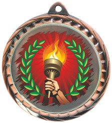 60mm Colour Print Sports Medal - Torch - Bronze