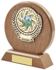 "Light Wood Circle Sports Award - 14cm (5 1/2"")"