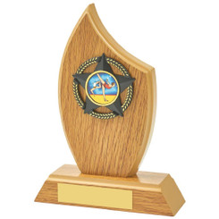 "Light Oak Sail Wood Trim Award - 16.5cm (6 1/2"")"