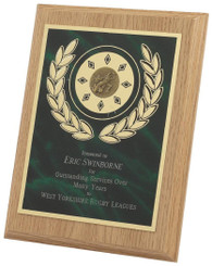 """Light Wood Plaque Award with Green Front - TW18-120-165BP - 18cm (7"""")"""