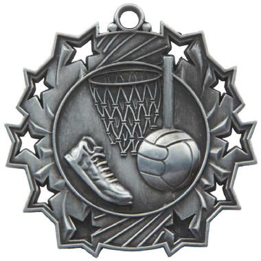 60mm Stars Netball Medal - Silver