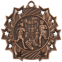 60mm Stars Distance Running Medal - Bronze