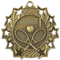 60mm Stars Tennis Medal - Gold