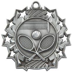 60mm Stars Tennis Medal - Silver