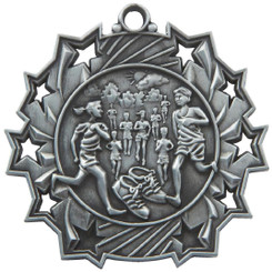 60mm Stars Distance Running Medal - Silver