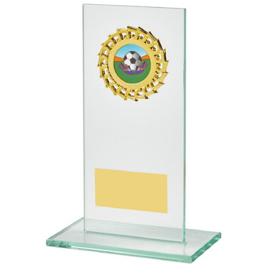 Jade Glass Stand with Gold Trim Award - 16cm