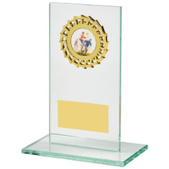 Jade Glass Stand with Gold Trim Award - 14cm