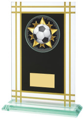 "21cm Jade Glass Award with Black/Gold Panel - 19cm (7 1/2"")"