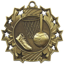 60mm Stars Netball Medal - Gold