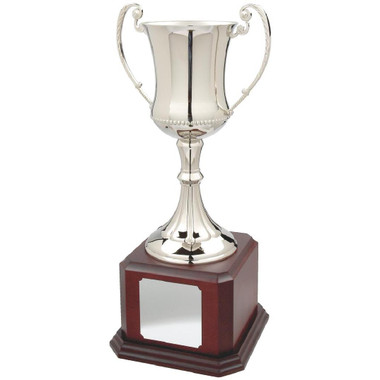 """Large Waisted Nickel Plated Trophy Cup on Wood Base - 43cm (17"""")"""