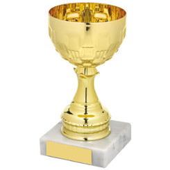 Gold Bowl on White Marble Award - 15cm