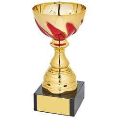 Gold/Red Bowl Award on Black Marble - 15.5cm