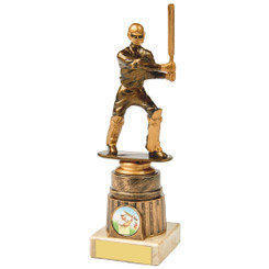 Antique Gold Cricket Batsman Award - 21.5cm