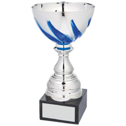 Silver/Blue Bowl Award on Black Marble - 22cm