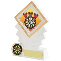 "White Resin Diamond Darts Award - 14cm (5 1/2"")"