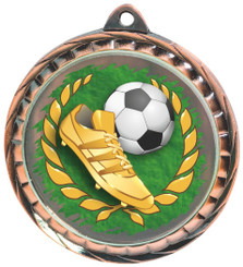 60mm Colour Print Sports Medal - Football - Bronze