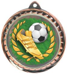 60mm Colour Print Sports Medal - Football - Bronze