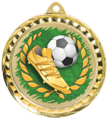 60mm Colour Print Sports Medal - Football - Gold