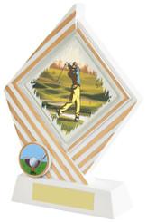 "White Resin Diamond Golf Award - TW18-154-638ZCP - 15cm (6"")"