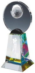 "Crystal Golf Award with 3D Image - TW18-164-T.0805 - 20.5cm (8"")"