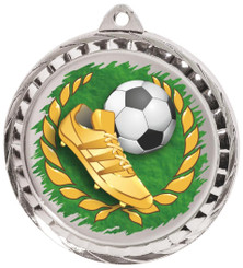 60mm Colour Print Sports Medal - Football - Silver