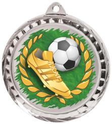 60mm Colour Print Sports Medal - Football - Silver