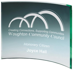 "Curved Jade Glass Award - TW18-176-T.0920 - 18cm (7"")"