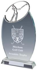 "Crystal Oval Golf Award with Metal Golf Figure - TW18-163-T.0883 - 24cm (9 1/2"")"