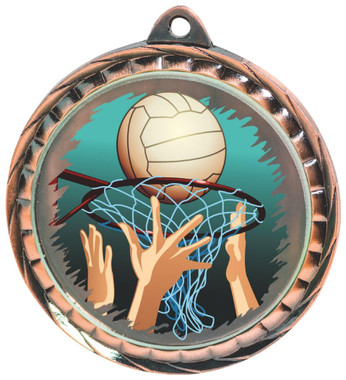 60mm Colour Print Sports Medal - Netball - Bronze