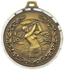 50mm Diamond Edged Golf (F) Medal - TW18-169-MD820G