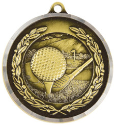 50mm Diamond Edged Golf Ball/Club Medal - TW18-169-MD014G