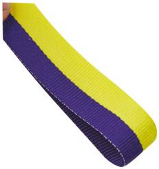 22mm Width Medal Ribbon - Purple/Yellow