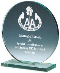 "Round Jade Glass Award - TW18-179-T.1772 - 15cm (6"")"