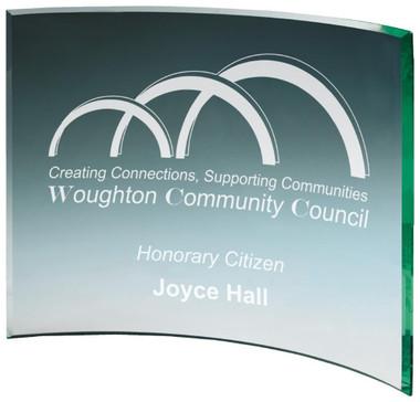 "Curved Jade Glass Award - TW18-176-T.0917 - 10cm (4"")"
