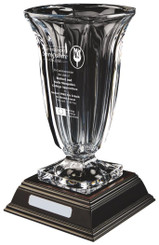 "Crystalite Vase on Wood Base - TW18-214-KL819 - 35cm (13 3/4"")"