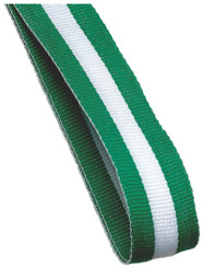 22mm Width Medal Ribbon - Green/White/Green