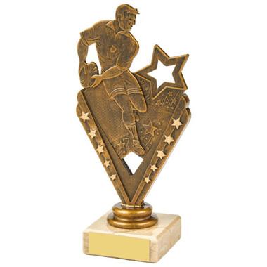 Antique Gold Male Rugby Holder Trophy - 17.5cm
