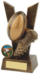 "'V' for Victory Resin Rugby Award - TW18-064-RS500 - 15cm (6"")"