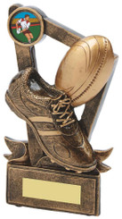 "Gold Resin Boot & Ball Rugby Trophy - TW18-064-RS597 - 11cm (4 1/4"")"