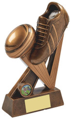 "Gold Resin Boot & Ball Rugby Award - TW18-063-RS741 - 25cm (10"")"