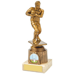 Antique Gold Male Rugby Figure Award - 18.5cm