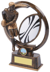 "Gold Resin Men's Rugby Player Award - TW18-065-RS588 - 21.5cm (8 1/2"")"